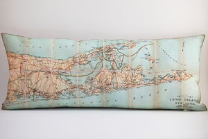Image of Vintage EAST LONG ISLAND Made to Order 9&quot;x 20&quot; Map Pillow