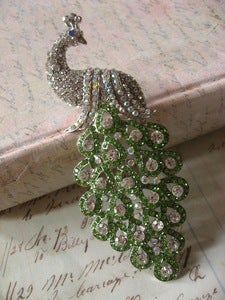 Image of Peacock - sparkle color rhinestones brooch