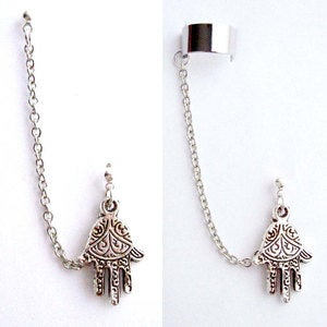 Image of Single Hamsa, Fatima Hand with Double Piercing or Earring Cuff