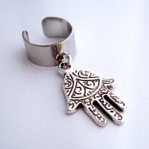 Image of Single Hamsa, Fatima Hand Earring Cuff
