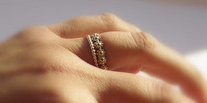 Image of Gold Filled daisy chain stackable wedding ring & gold dotted band, flower girl ring