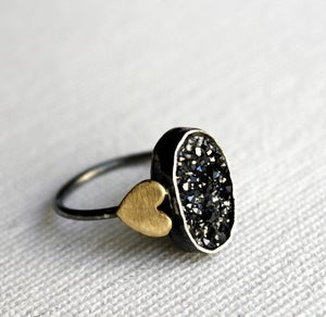 Image of Black Oval Drusy with Hearts
