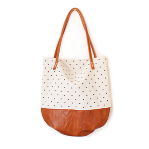 Riley Dot Tote - Cream Dots