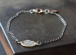 Image of Simple Diamond Slice Bracelet in 18kt Gold and Sterling Silver
