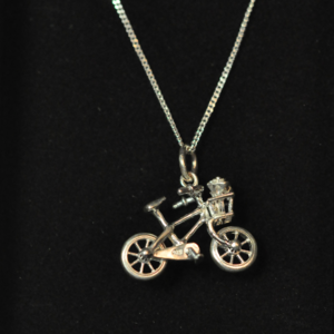 Image of Sterling silver bicycle charm with moving wheels