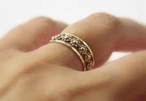 Image of Daisy Chain Floral Romance Gold Filled Stackable Rings Set - Stacking Ring Set of 3 - Best Friends o