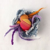 Image of orange &amp; purple flower pin