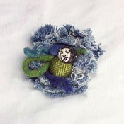 Image of blue &amp; green flower pin