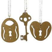 Image of Ltd. Edition Padlock and Key Necklaces made from GOLD COLOUR vinyl records.