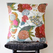 Image of KANTHA White Cotton Cushion Cover 50 x 50 cm, 20 inch