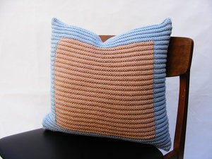 Image of Hand Knit Cushion 45 x 45cm - blue colourblock