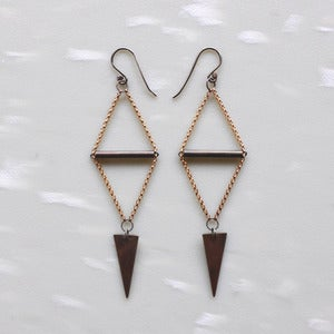 Image of Black & Gold Triange Spear Earrings