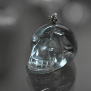 Image of Quartz Skull on sterling silver box chain