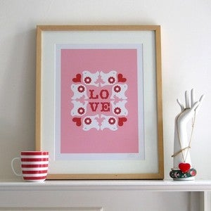Image of Flock Screen Print | Pink