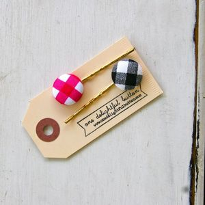 Image of Buffalo Check Button Bobby Pins