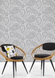 Image of Paisley Crescent Wallpaper - Concrete