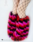 Image of Zig Zag fluffies in pink red black