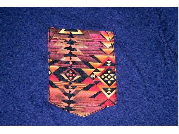 Image of Custom T-Shirt with Navajo Print Pocket