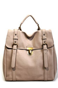 Image of 'Beige Castle' Large 3-Way Satchel/Cross Bag/Backpack
