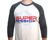 Image of Super Session 3/4 Sleeve, White/Asphalt
