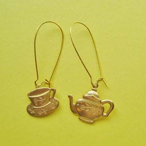 Image of Tea Pot & Cup Loop Earrings (Various Colours)