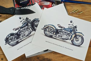 Image of 6x8 Print Set of 3 - 1946 Harley Davidson EL Knucklehead Sketchcards.