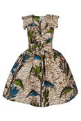 Image of Lab Shirt Dress (Blue and Green Leaves)