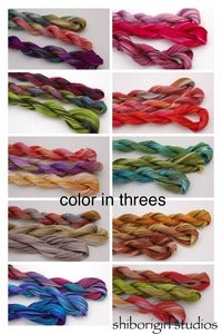 Image of color in threes-silk shibori ribbon set 1