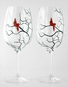 Image of Christmas Cardinal Wine Glasses-Set of 2