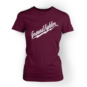 "Image of Ground Fighter ""White Lightning"" Shirt - Plum (Womens)"