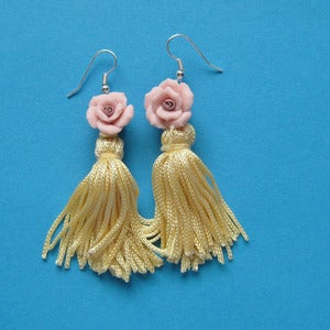 Image of Rose Blush Primrose Tassel Earrings 50% Off!