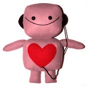 Image of Large Pink Robot Plush Toy with Headphones