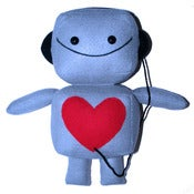 Image of Large Blue Robot Plush Toy with Headphones
