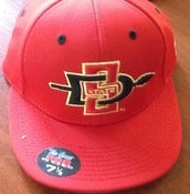 Image of San Diego State Official On Field Hat Red With Logo 7 1/8 Grey bottom