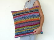 Image of pillow cover crochet 'he-he' 4