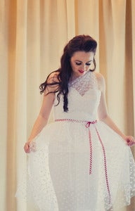 Image of Judy - Hourglass Polkadot Illusion Tulle Short Wedding Dress