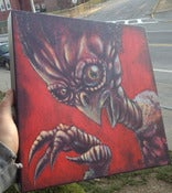Image of **SOLD** Ancient Vulture Alien 12 x12 Acrylics 