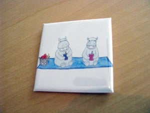 Image of A Hippos Picnic, by Purple Snapdragons, 2 inch square magnet
