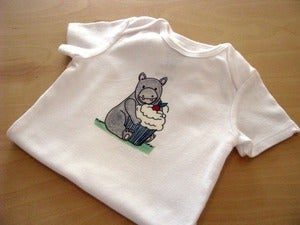 Image of Hippo with Cupcake - Single One Piece Bodysuit for Baby, Short Sleeve, Infant, Nur