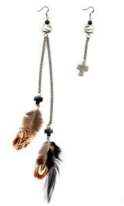 Image of Jerrica - Asymmetrical Feather & Silver Cross and Chain Earring