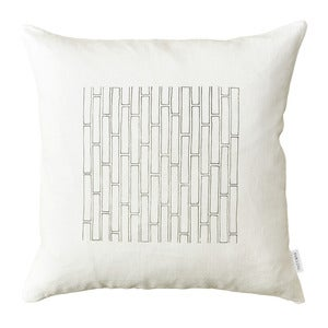 Image of White Tile Pillow Cover