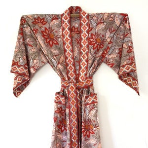 Image of Anokhi Cotton Robe Red Flower