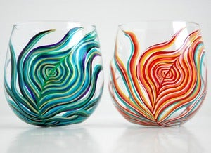 Image of Yin and Yang Peacock Stemless Glasses-Set of 2 Hand-Painted Wine Glasses