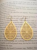 Image of Gold Plated Filagree Teardrop Earings