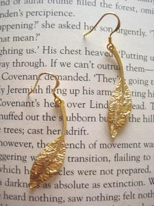 Image of Gold Plated Long Leaf Earings