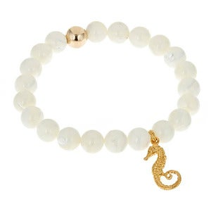 Image of Seahorse & Mother of Pearl Bead Bracelet