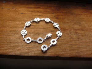 Image of Custom Initial Bracelet with Heart Shapes - Handmade Sterling Silver Heart and Initial Bracelet