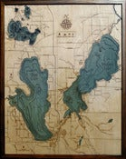 Image of Burt & Mullet Lakes, MI Wood Map
