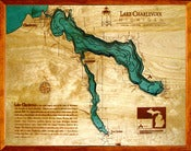 Image of Lake Charlevoix, MI Wood Map