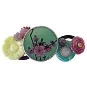 Image of Green Cherry Blossom Barrette by Joli Jewelry